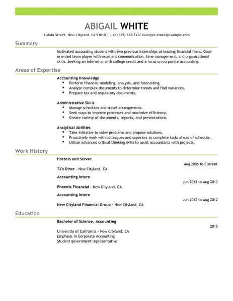 best training internship resume example livecareer of for college credits accounting Resume Example Of A Resume For Internship