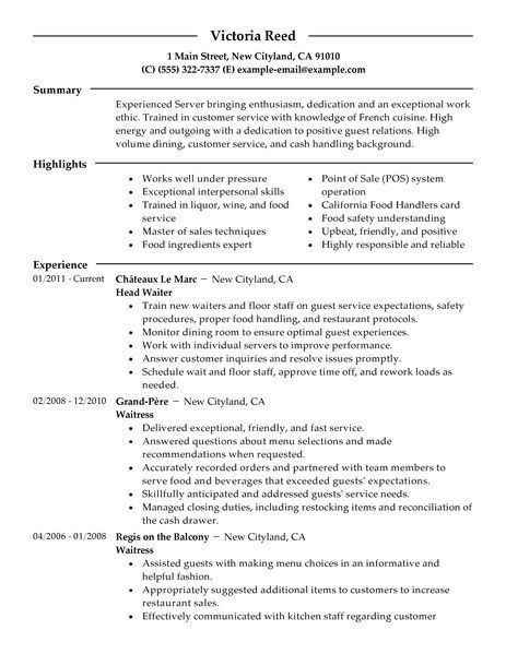 big server example modern design restaurant resume examples job description for on Resume Job Description For A Server On A Resume