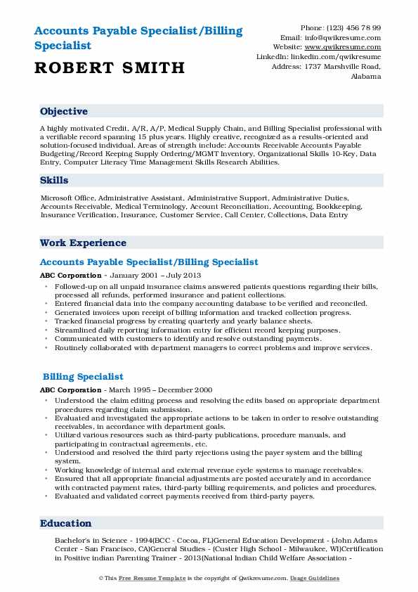 billing specialist resume samples qwikresume sample pdf vs abstract otr driver quick and Resume Billing Specialist Resume Sample