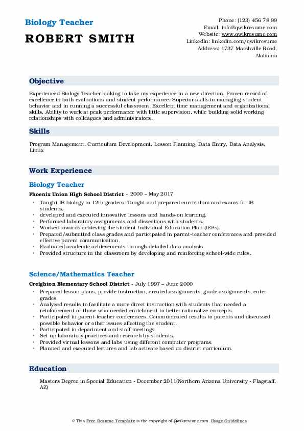 biology teacher resume samples qwikresume examples pdf builder reviews marketing analyst Resume Biology Resume Examples
