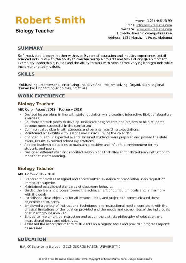 biology teacher resume samples qwikresume examples pdf recruiter objective email message Resume Biology Resume Examples