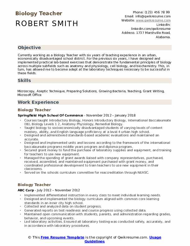 biology teacher resume samples qwikresume examples pdf recruiter objective sap bods Resume Biology Resume Examples