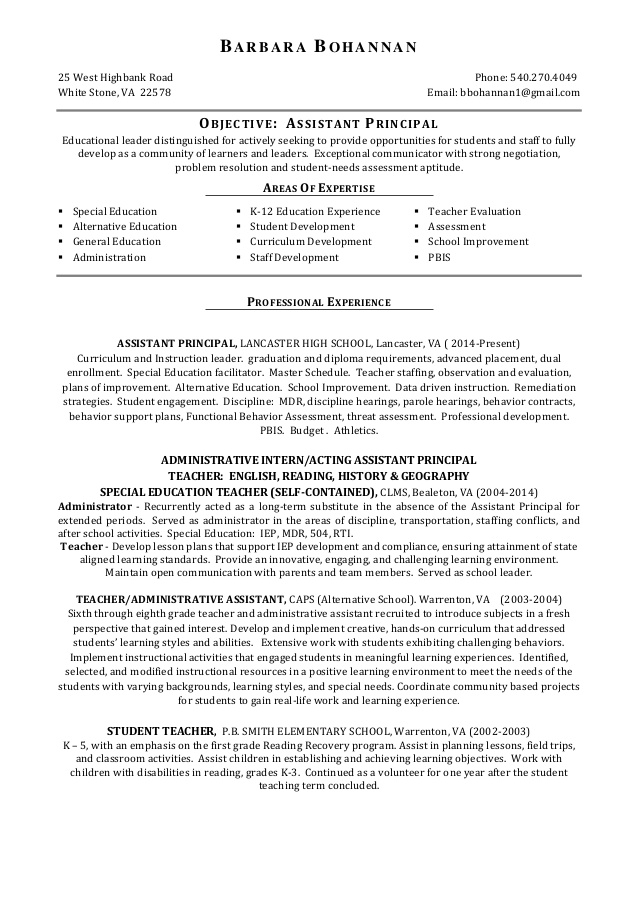 bohannan assistant principal resume objective for job examples sports picker packer Resume Objective For Assistant Principal Resume