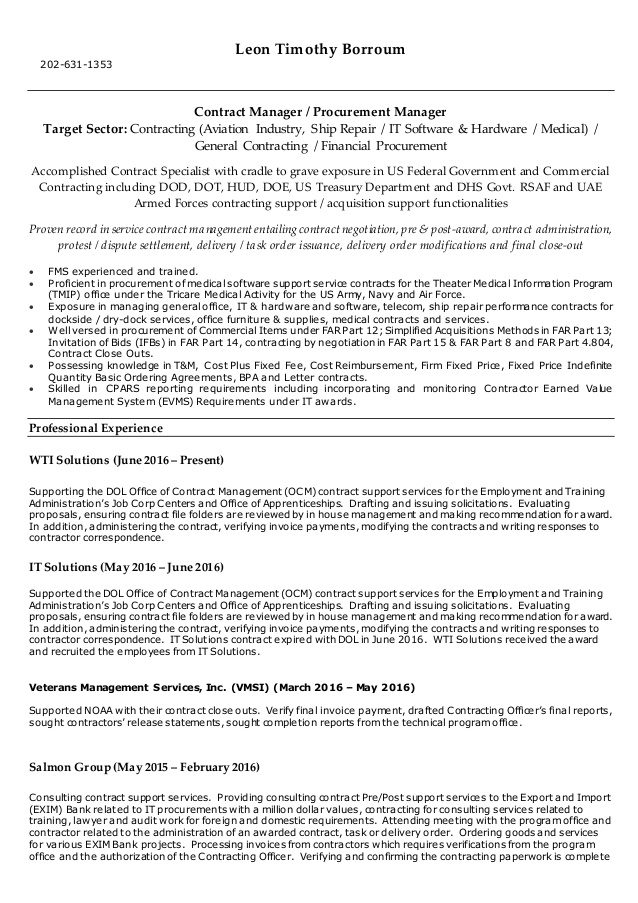 borroum resume government contracting officer leonborroumresume skills and abilities for Resume Government Contracting Officer Resume