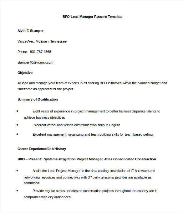 bpo resume templates pdf free premium for voice process lead manager word mortgage funder Resume Resume For Voice Process