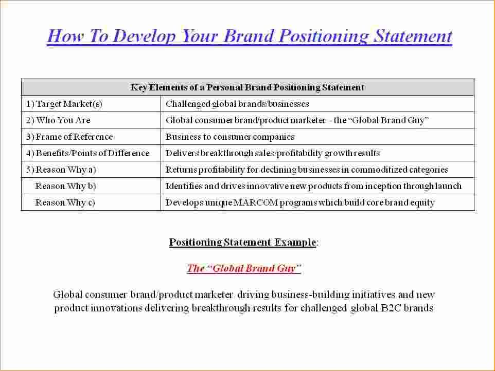 brand positioning statement examples personal resume church pastor format for first job Resume Resume Positioning Statement