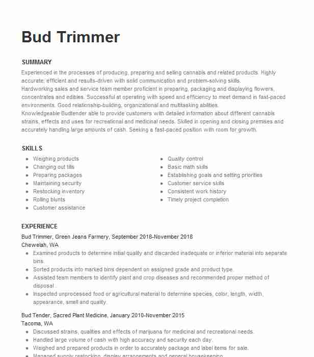 bud tender resume example canna health givers los angeles budtender administrative Resume Budtender Resume Example