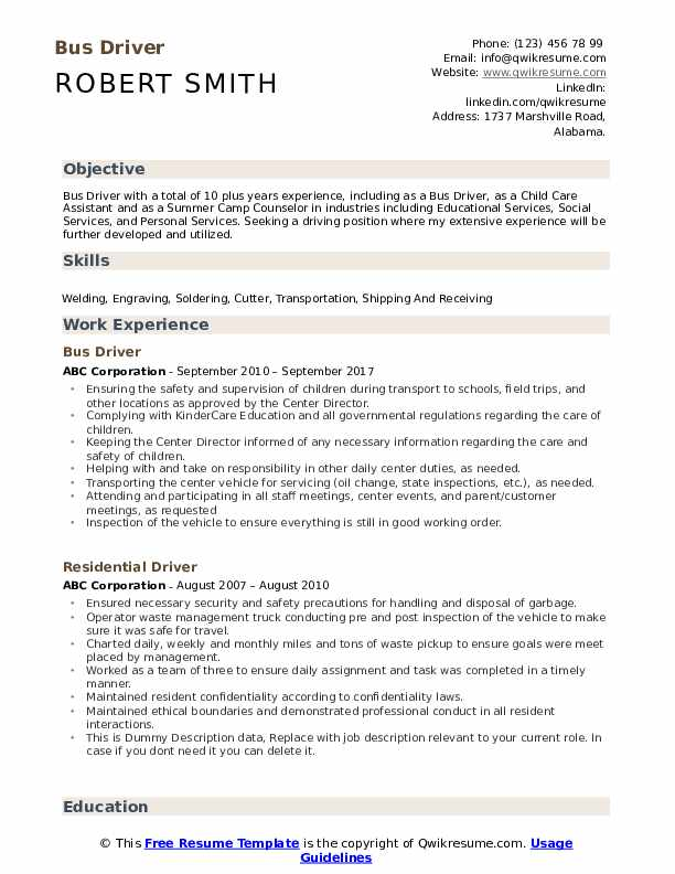 bus driver resume samples qwikresume for position pdf catechist customer service template Resume Resume For Bus Driver Position
