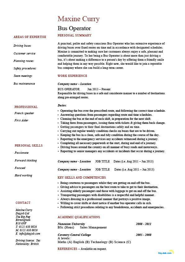 bus operator resume job description example template driving lorry road safety for driver Resume Resume For Bus Driver Position