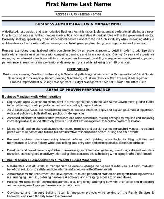 business administration resume sample template format adm management selenium with years Resume Administration Resume Format