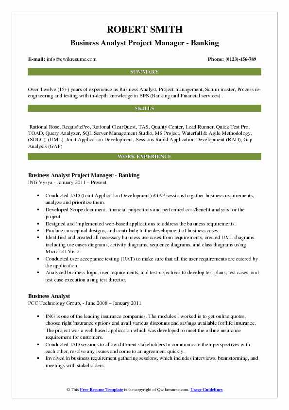 business analyst project manager resume samples qwikresume banking projects for testing Resume Banking Projects For Testing Resume