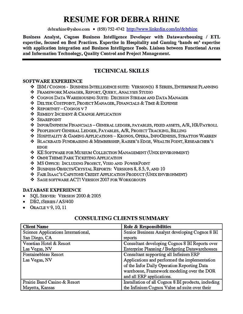 business analyst resume describes the skills and expertise of intelligence technical Resume Technical Skills Business Analyst Resume