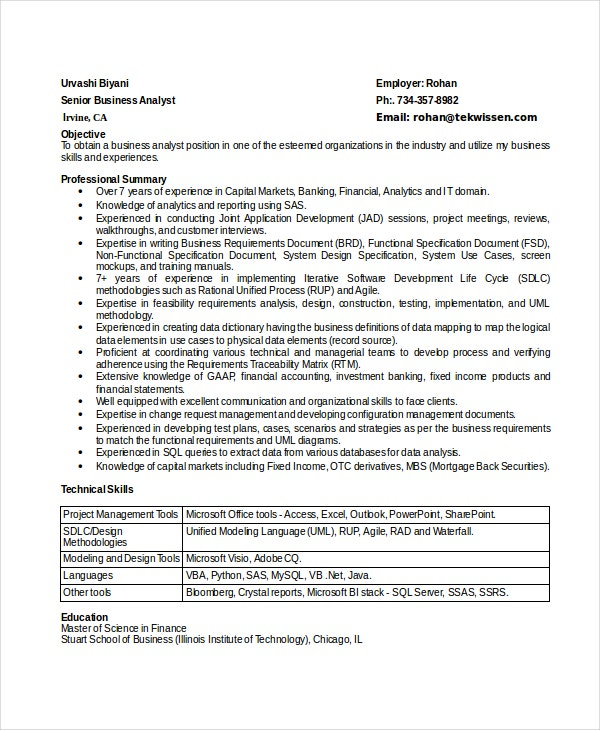 business analyst resumes free sample example format premium templates technical skills Resume Technical Skills Business Analyst Resume