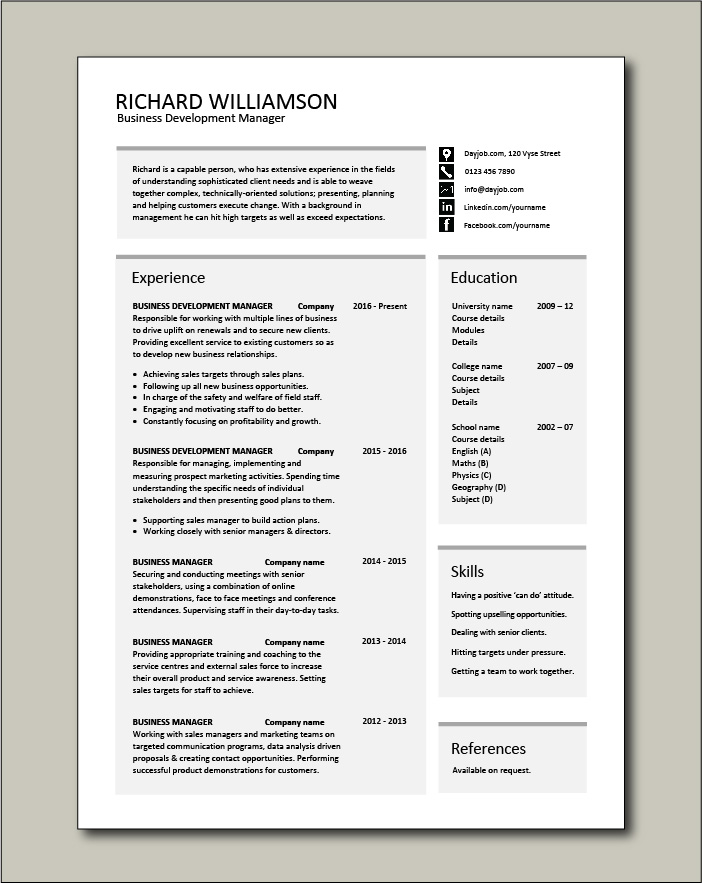 business development manager cv template managers resume marketing job application Resume Resume For Pharmaceutical Research And Development