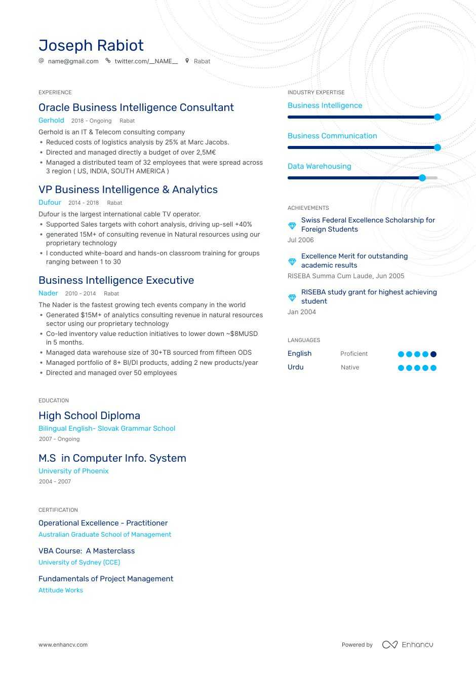 business intelligence resume examples expert advice enhancv keywords middle initial on Resume Business Intelligence Resume Keywords