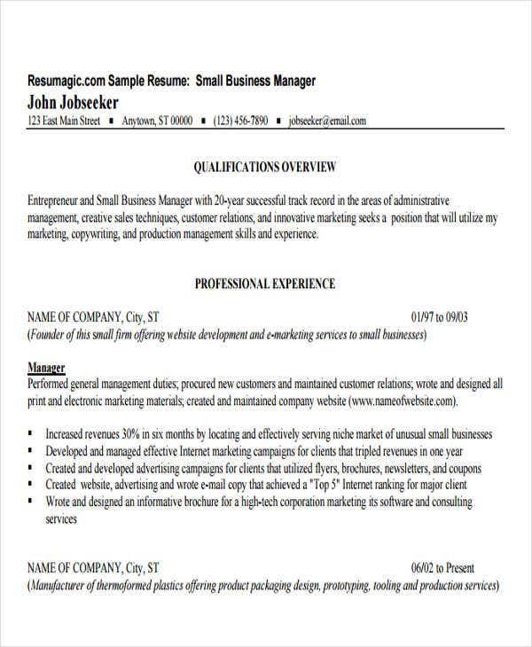business resume templates pdf free premium entrepreneur samples small manager resume1 Resume Entrepreneur Resume Samples
