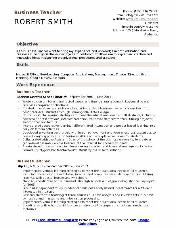 business teacher resume samples qwikresume skill set for pdf nanny objective example Resume Skill Set For Teacher Resume