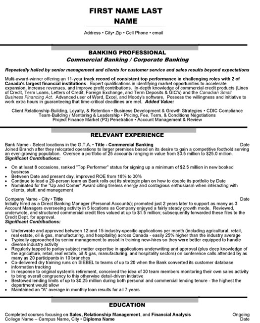 by banking resume examples format professional template college graduate documentation Resume Professional Banking Resume Template