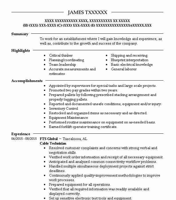 cable technician resume example livecareer voice and data going home janitor job Resume Voice And Data Technician Resume