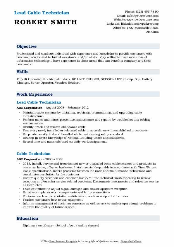 cable technician resume samples qwikresume voice and data pdf child care examples Resume Voice And Data Technician Resume