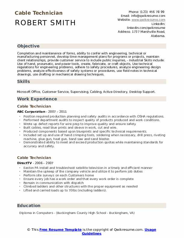 cable technician resume samples qwikresume voice and data pdf skills examples acting Resume Voice And Data Technician Resume