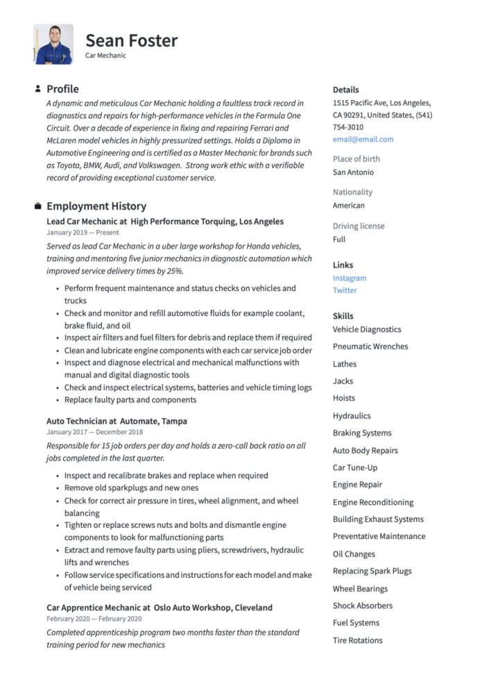 car mechanic resume guide examples apprentice scaled fresher format for bank job ip itsm Resume Ip Telephony Engineer Resume