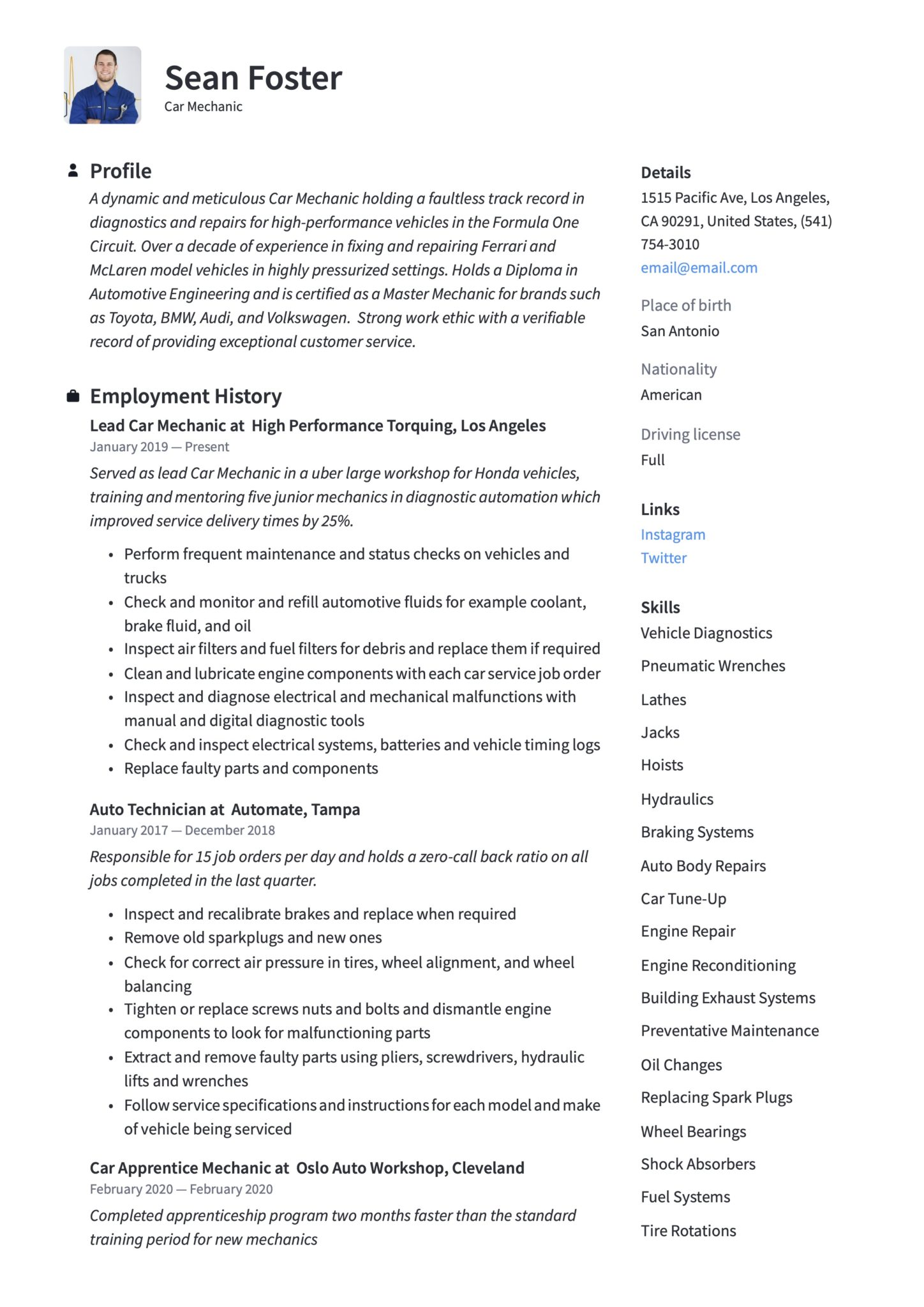 car mechanic resume guide examples automotive technician scaled lash extension artist Resume Automotive Technician Resume Examples