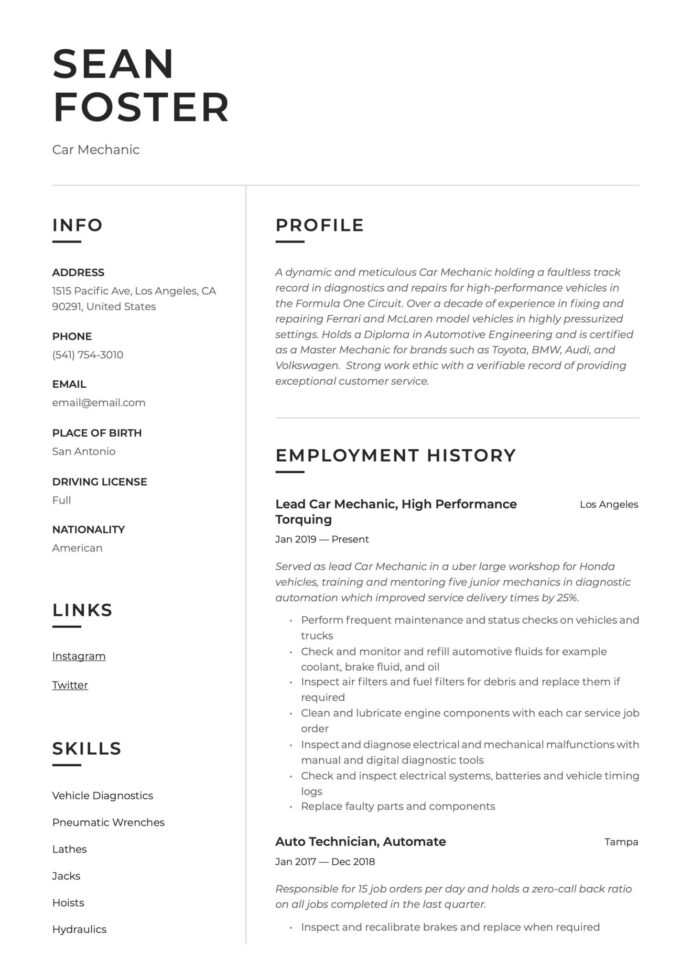 car mechanic resume guide examples summary for scaled good hobbies on food safety sample Resume Resume Summary Examples For Mechanic