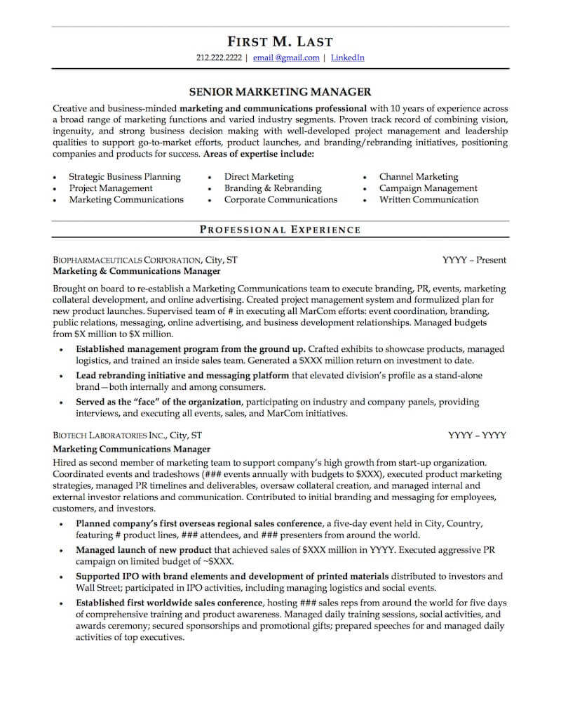 career resume sample professional examples topresume channel marketing page1 pre teacher Resume Channel Marketing Resume