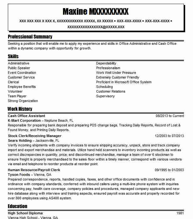cash office assistant resume example resumes livecareer job description work and Resume Cash Office Job Description Resume