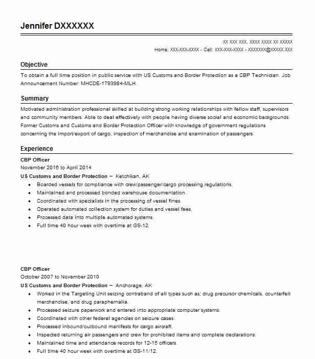 cbp officer resume example resumes livecareer border patrol template for manufacturing Resume Border Patrol Resume Template