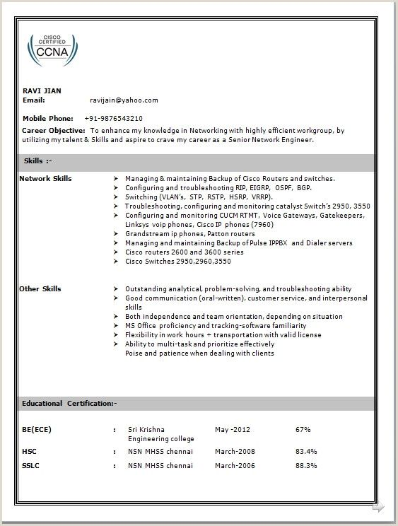 ccna fresher resume format free network engineer engineering examples sample for Resume Ccna Sample Resume For Experience