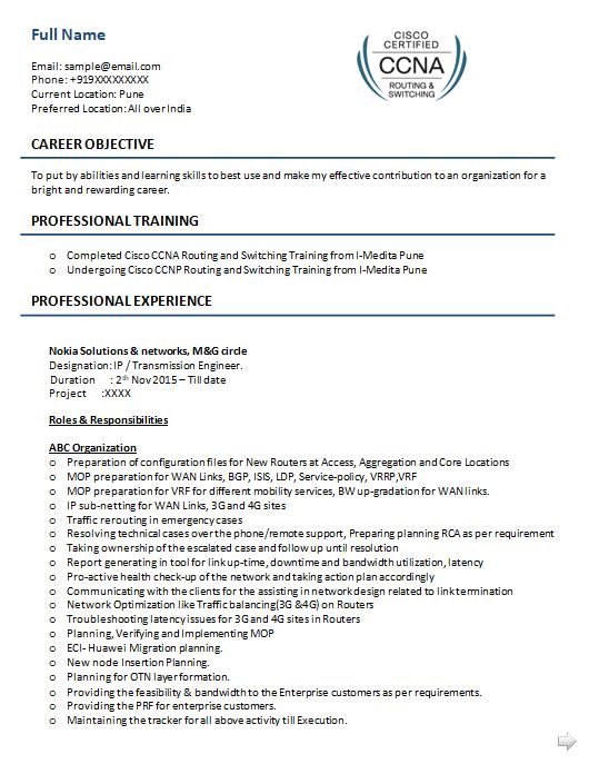 ccna resume samples top templates in network engineer sample objective seeking position Resume Ccna Network Engineer Resume Sample