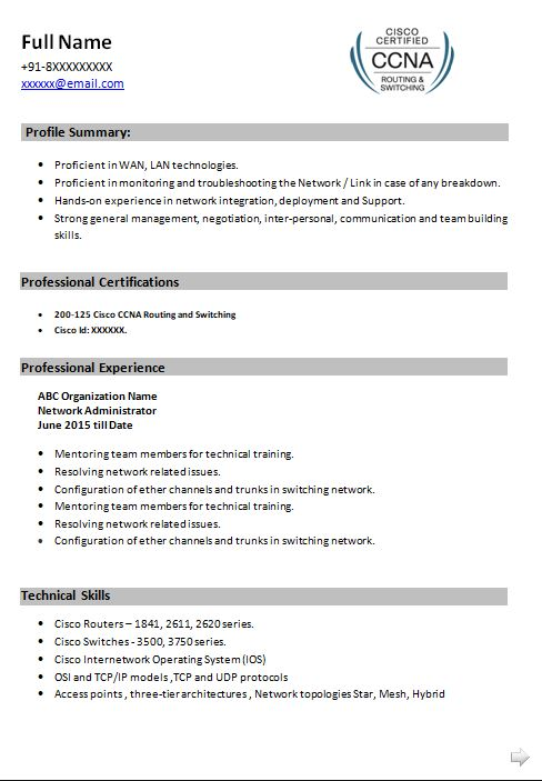 ccna resume samples top templates in sample for experience best google docs skills can Resume Ccna Sample Resume For Experience