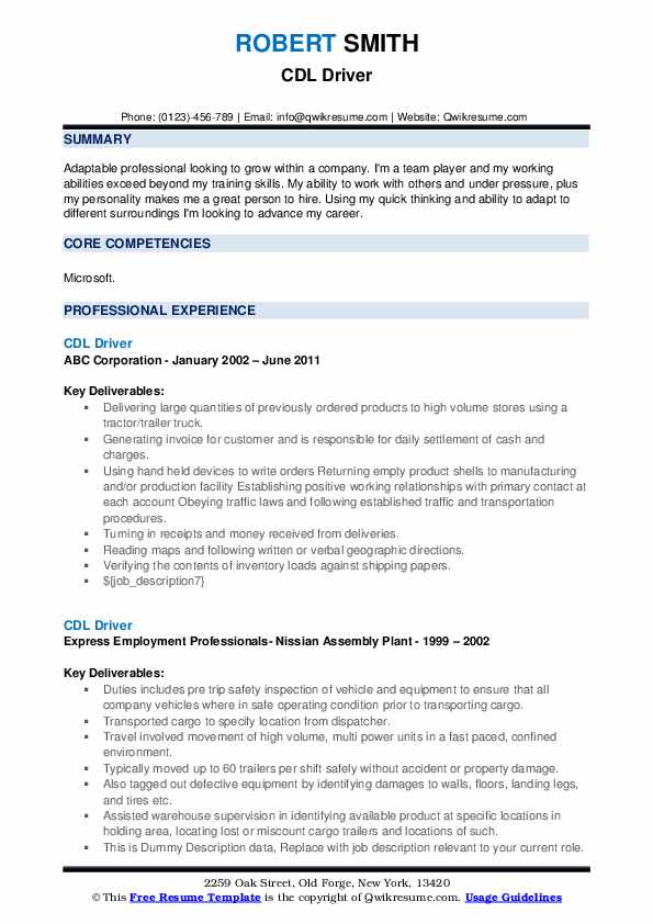 cdl driver resume samples qwikresume entry level truck pdf core competencies for Resume Entry Level Truck Driver Resume