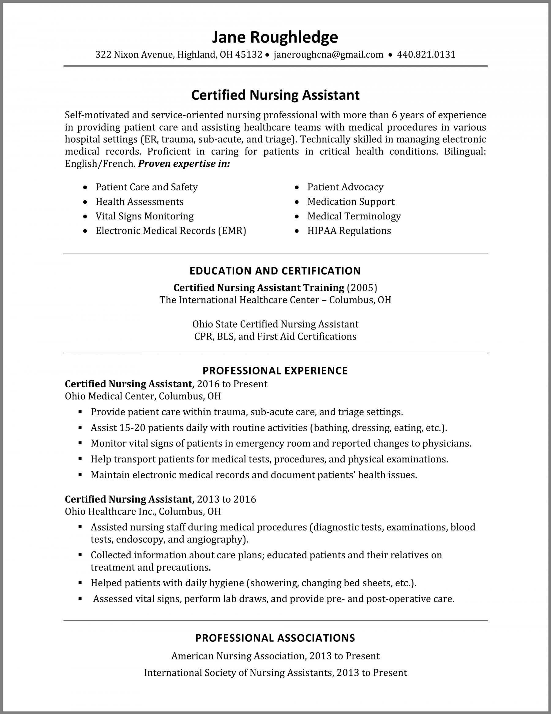 certified nursing assistant cna resume skills best examples description duties Resume Cna Description Duties Resume