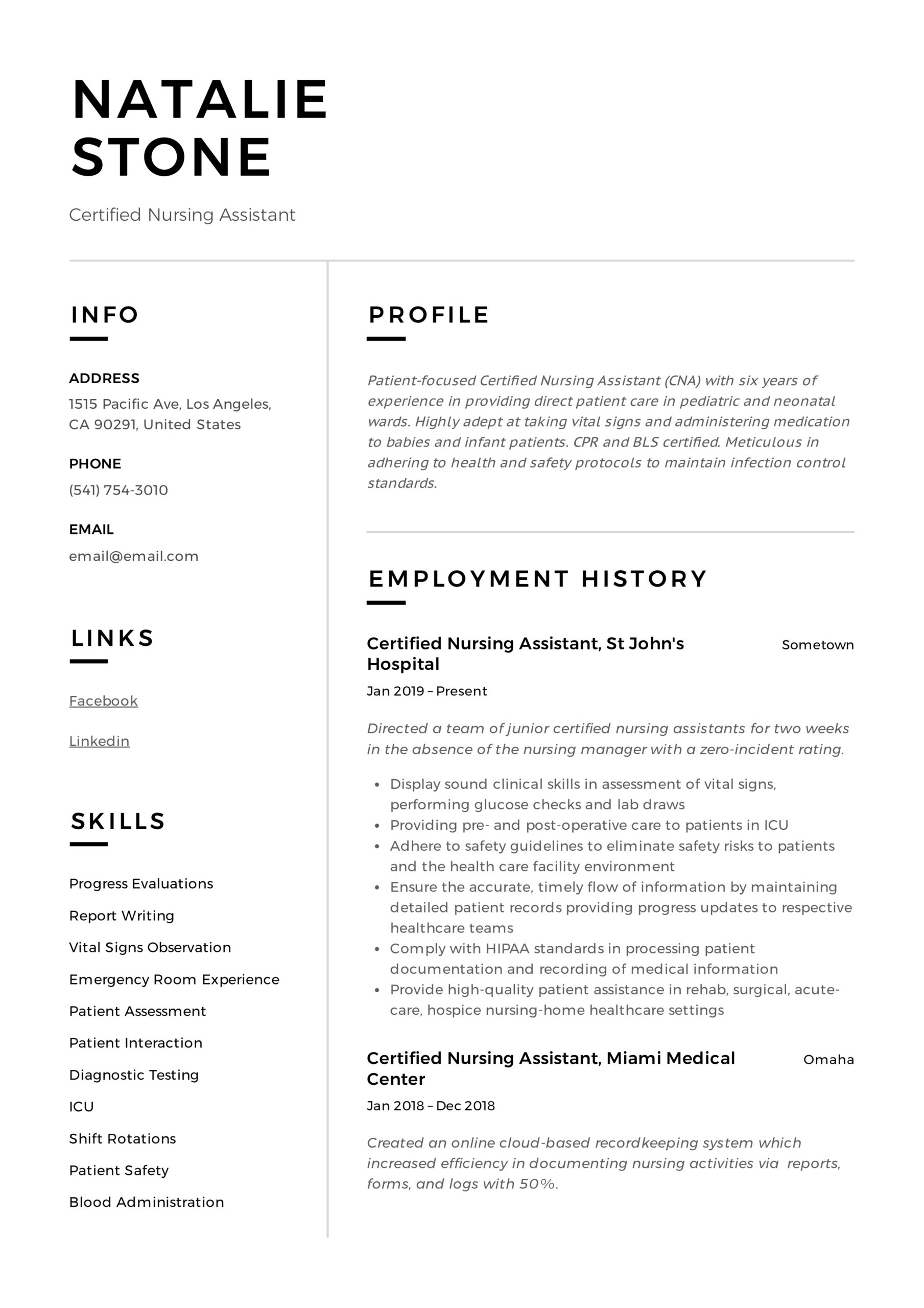 certified nursing assistant resume writing guide templates cna examples fresh graduate Resume Cna Resume Examples 2018