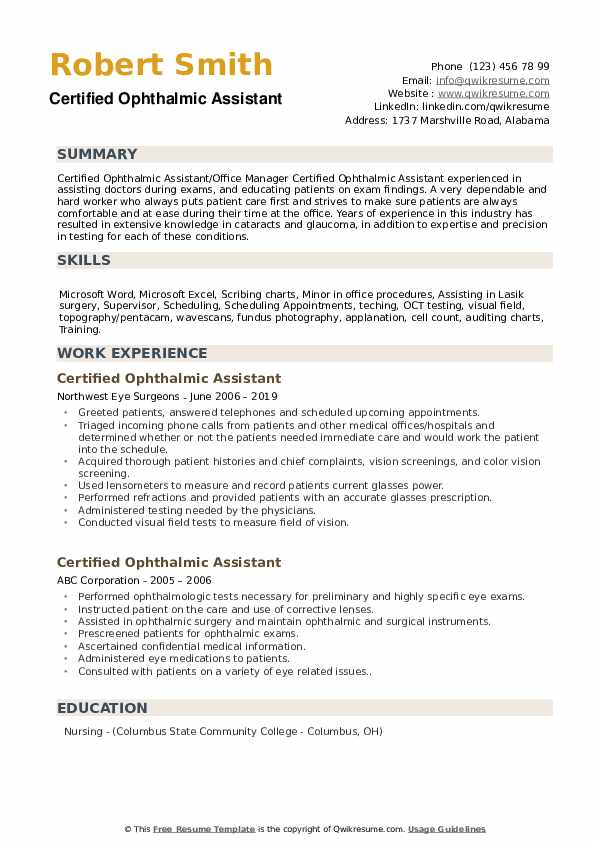 certified ophthalmic assistant resume samples qwikresume pdf good career objective Resume Certified Ophthalmic Assistant Resume