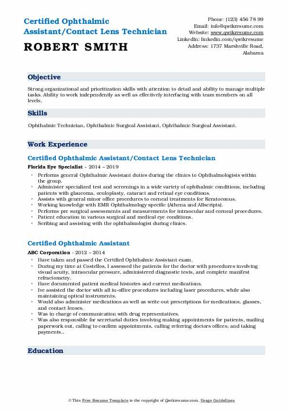 certified ophthalmic assistant resume samples qwikresume pdf sample for office with Resume Certified Ophthalmic Assistant Resume