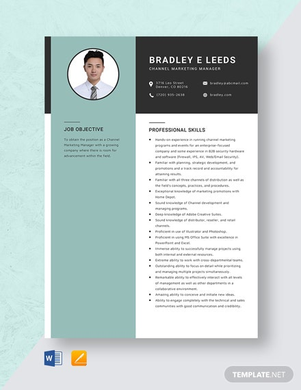 channel marketing manager resume cv template word apple mac hospice administrator Resume Channel Marketing Resume