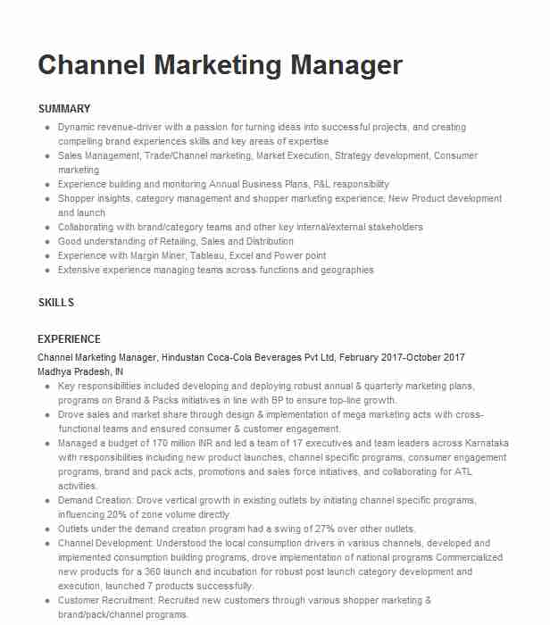 channel marketing manager resume example resumes livecareer bpm consultant executive Resume Channel Marketing Resume