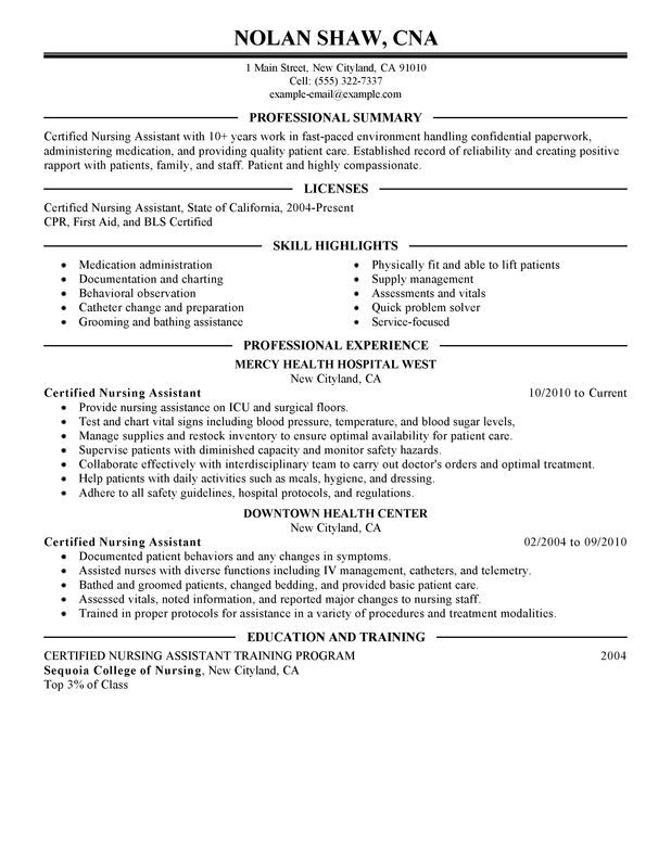 check out this nursing aide assistant resume example cna examples and healthcare google Resume Cna Resume Examples 2018