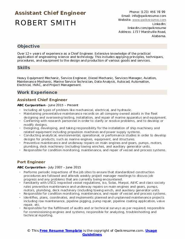 chief engineer resume samples qwikresume objective for technical pdf format Resume Objective For Technical Resume