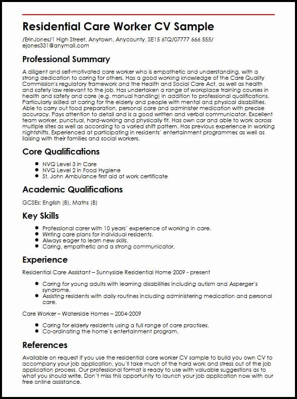 child care provider resume unique residential worker cv example myperfectcv assistant Resume Personal Care Assistant Resume Examples