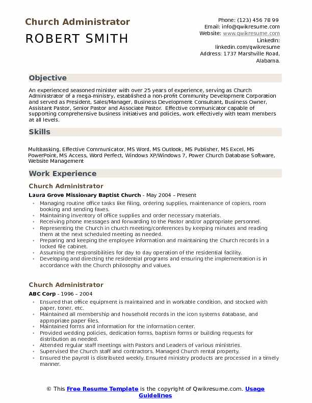 church administrator resume samples qwikresume sample ministry and cover letter pdf words Resume Sample Ministry Resume And Cover Letter