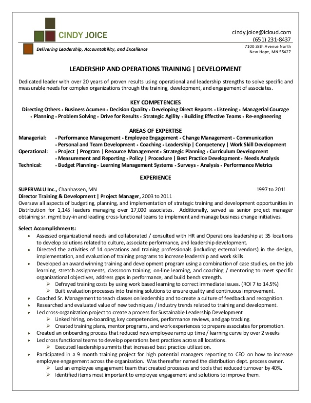 cindy joice resume for director of training and development learning hotel revenue Resume Learning And Development Resume