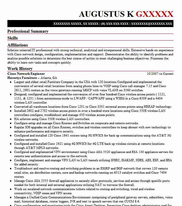 cisco network engineer resume example resumes misc livecareer ccna sample for warehouse Resume Ccna Network Engineer Resume Sample