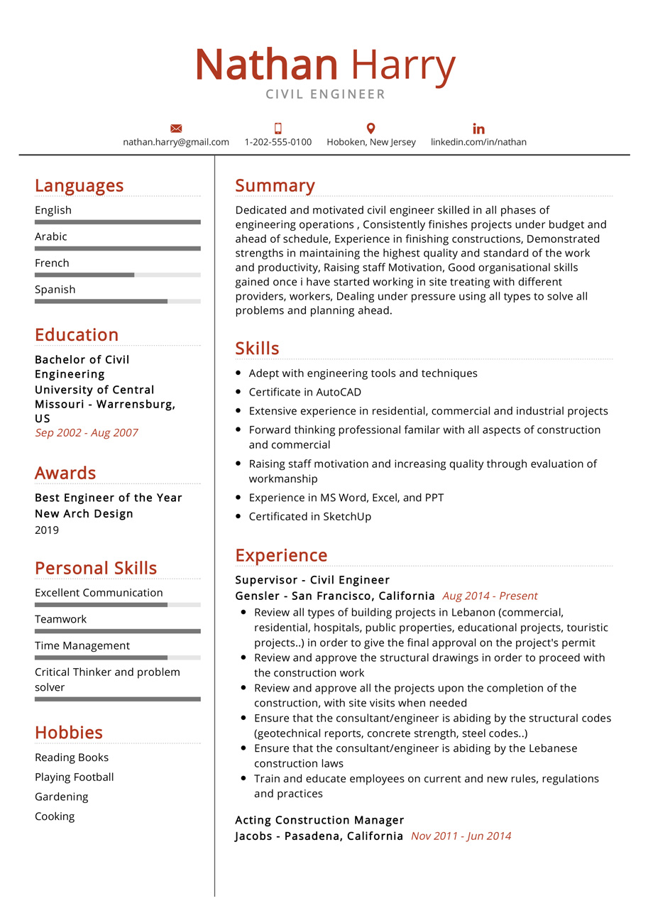 civil engineer resume example cv sample resumekraft of experienced nyu foreman microsoft Resume Resume Of Experienced Civil Engineer