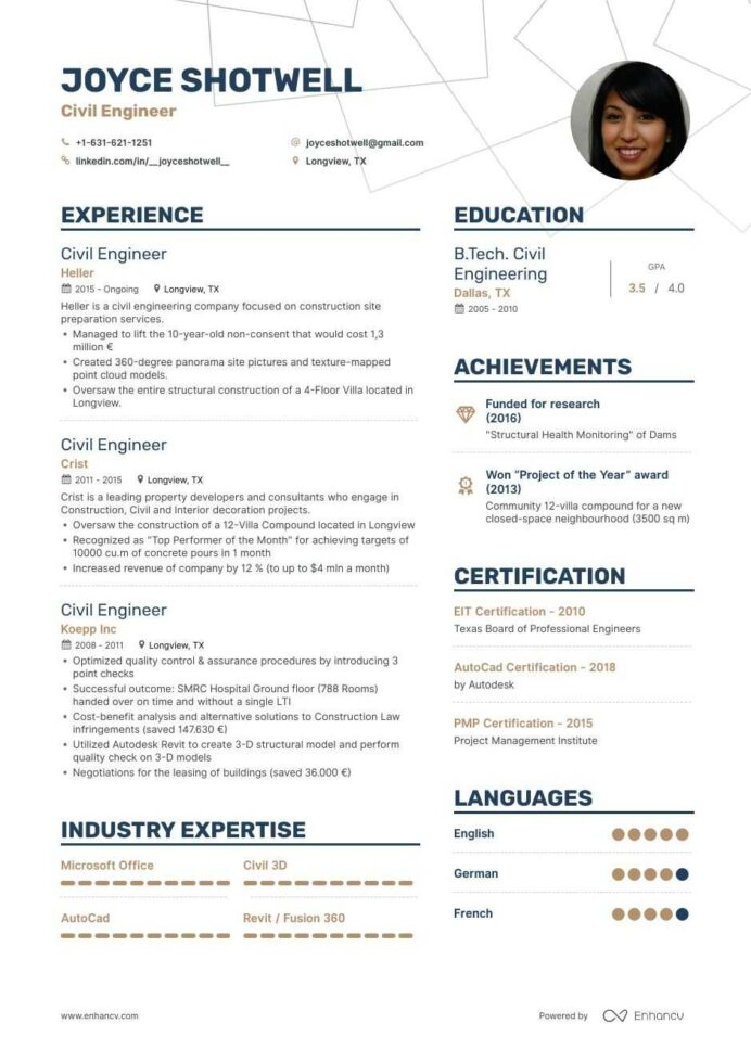 civil engineer resume examples guide pro tips enhancv of experienced business development Resume Resume Of Experienced Civil Engineer