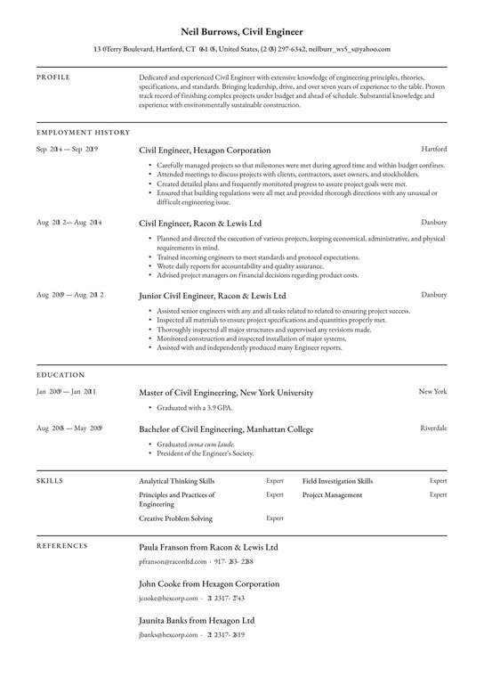 civil engineer resume examples writing tips free guide of experienced senior database Resume Resume Of Experienced Civil Engineer